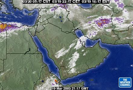 伊拉克地区的卫星云图 天气晴好适合轰炸图片