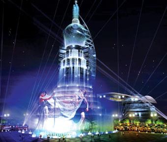 世界上最高的瀑布大楼近日在苏州国际服装城封顶