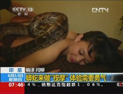 视频印尼:蟒蛇来做按摩