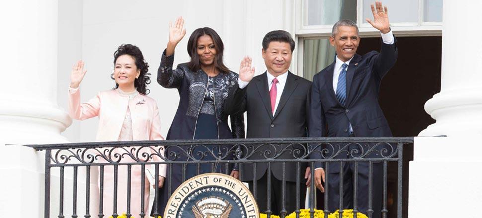 习近平出席美国总统奥巴马举行的欢迎仪式