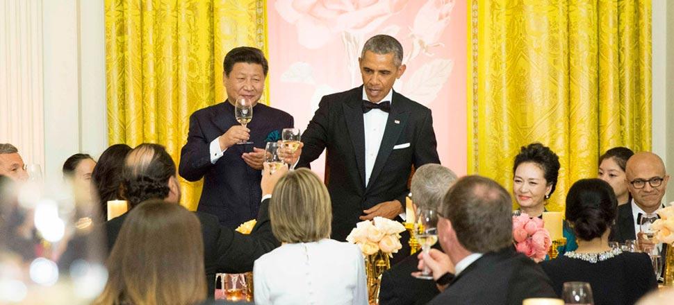 习近平和彭丽媛出席奥巴马总统举行的欢迎宴会