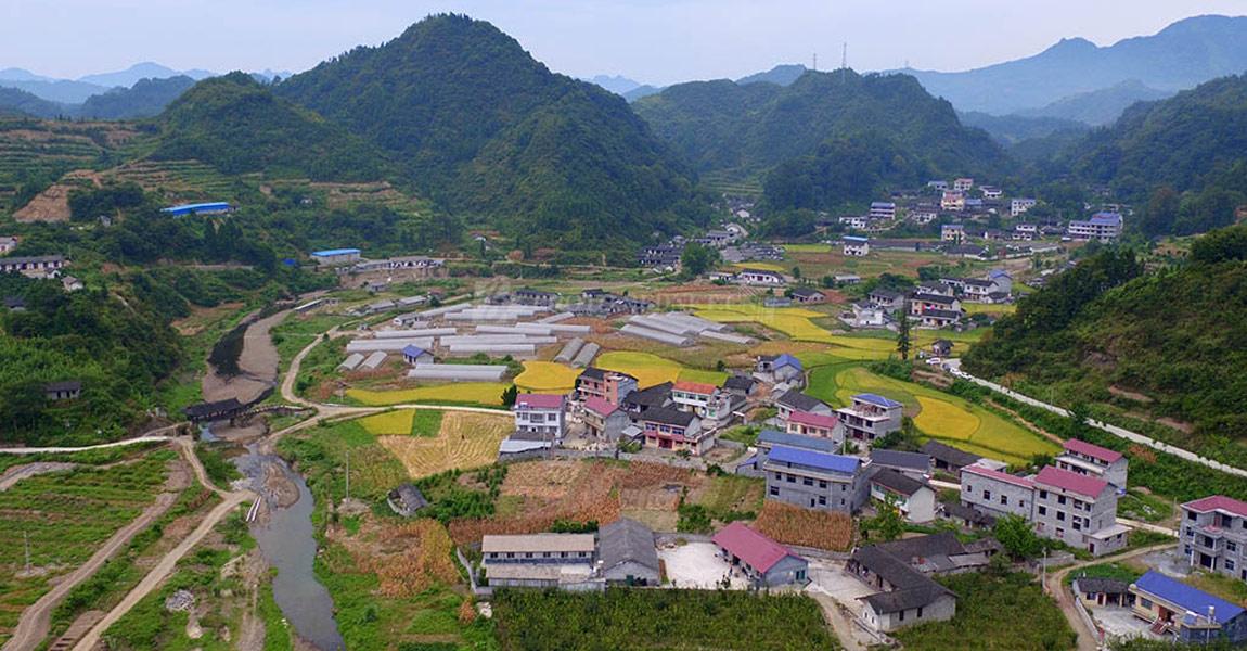 永顺县三家田村航拍全景图。