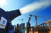 长沙汽车南站综合交通枢纽工程建设现场开启喷雾降尘降温
