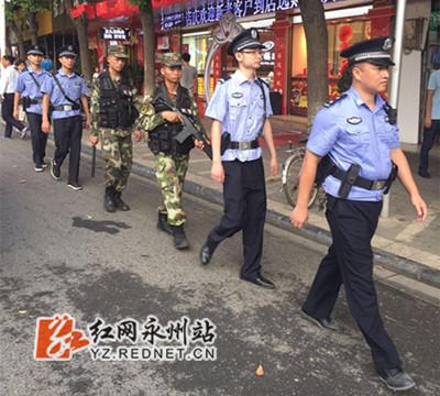 东安县公安局联合武警启动联勤开展武装巡逻