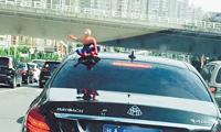 """爱车上的""""蜘蛛侠"""" 交警喊你取下来"""