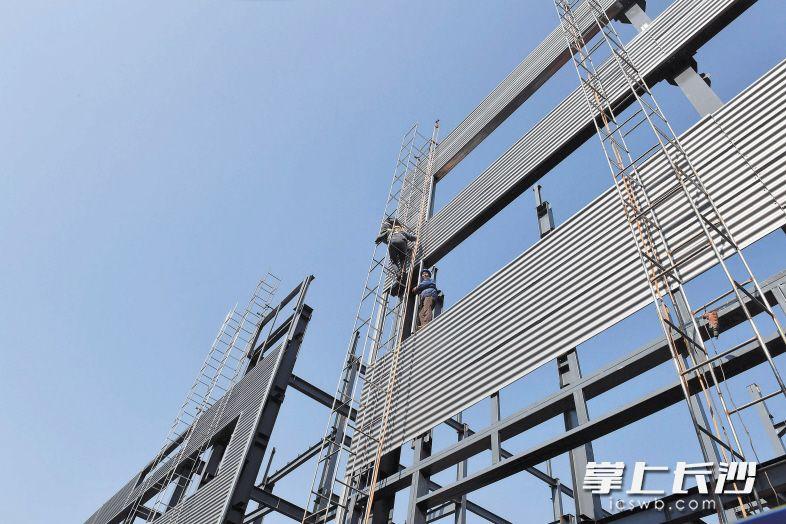中伟新能源(中国)总部产业基地项目正在加紧建设中。长沙晚报记者 周柏平 摄