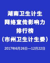 湖南卫生计生网络宣传影响力排行榜(市州卫计委)