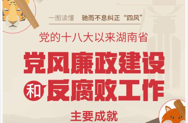 一图读懂十八大以来湖南党风廉政建设和反腐败工作主要成就