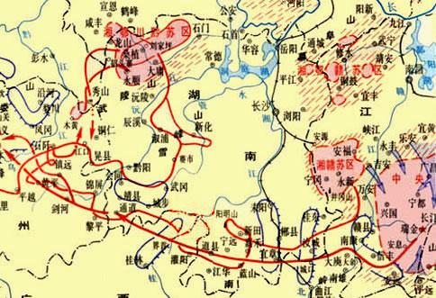 红军在湖南长征路线图