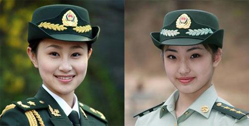 队女军人礼服和常服的卷檐帽稍有不同.摄影:刘胜 (图1)-身着军图片