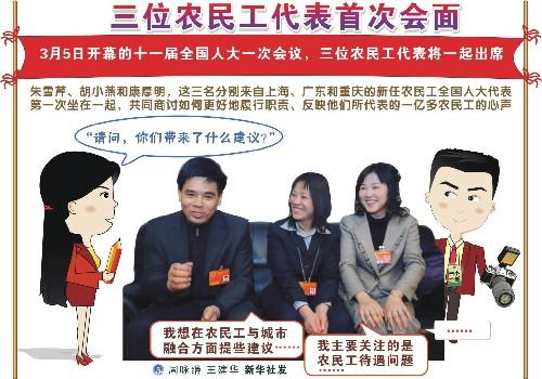 3月4日 图表:三位农民工代表首次会面 新华社发