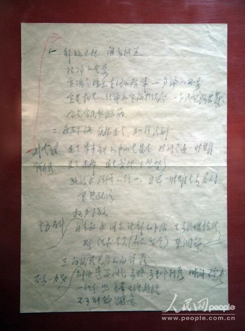 改革开放三十年历史见证:邓小平78年讲话手稿