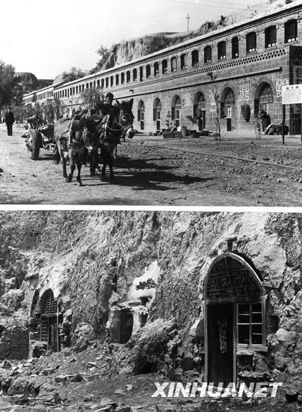 1963年,大寨遭到了前所未有的洪灾,许多房屋和窑洞塌毁(下图)。灾后,大寨村民迅速修复被冲毁的土地,盖起新居(上图)。