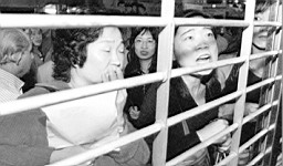 1997年11月10日,股市缩水,香港市民们拥挤在亚洲国际银行外等待取款。资料图片