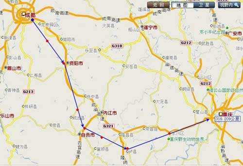 成渝高铁线路图-成渝之间铁路通行时间有望缩至2小时图片