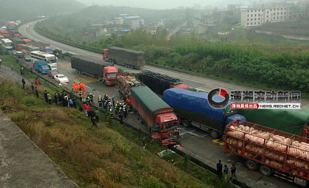 京珠高速郴州段凌晨12车连环相撞 运猪车两人死亡