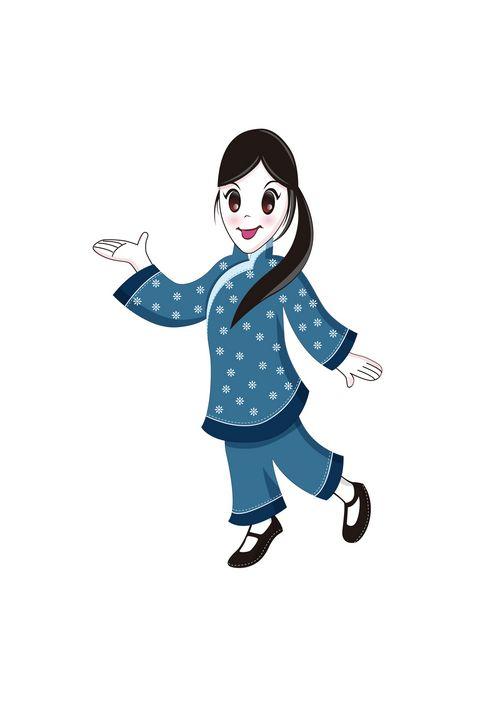 扎马尾的卡通女孩