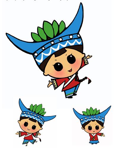 设计说明:      以上翠翠是以湘西苗族少女为原型并结合《边城》中的描述而设计的卡通造型。翠翠整体造型活泼可爱热情大方,具有民族亲和力。      1.卡通造型采用倒三角形式,重点突出头部,风日里长养出的健康的黑黑肤色,一双明亮的大眼睛,天真,可爱。      2.