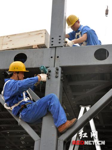 长沙远大城内,工人们正力图在2天内搭建一座15层的高层钢结构楼房.