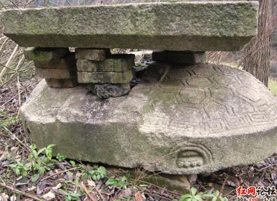 山门前守墓的石龟,石龟的头部断裂。