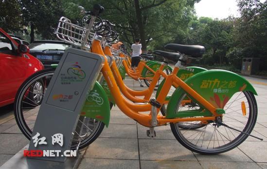 橙绿相间的自行车整齐划一地摆放在街头,成为株洲市一道美丽的风景线.