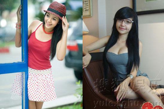 与越南第一混血美女小逸右对比照