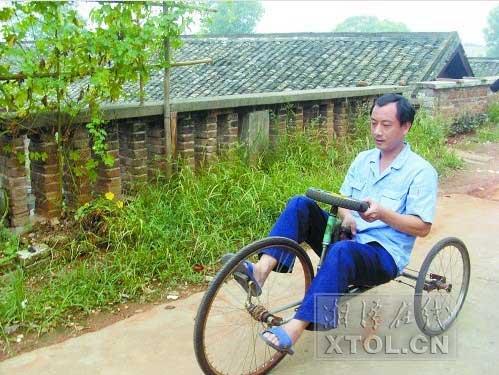 湘潭一工人发明无链条自行车(图)