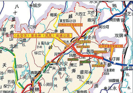 广西将建灌阳至凤凰红色高速公路(图)
