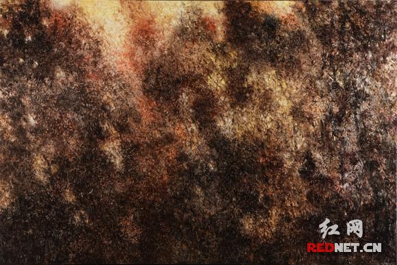 坎勒进京后的第三批作品《幻影》系列,只有一些细腻繁杂的笔触与凹凸不平的肌理,将观者引向思维的密林深处。