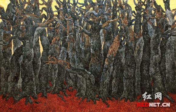 坎勒蛰伏在家乡湖南创作的玻卡水彩《森林的报告》,成就了他的艺术人生第一个高峰。