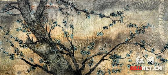 李奇安创作的布面油画《延伸.树影no.50》.