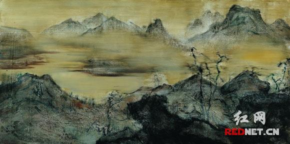 李奇安创作的布面油画《山NO.30》。