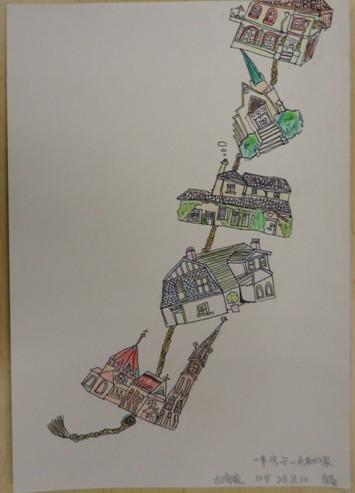 """牛未来星·未来毕加索""""儿童绘画大赛作品:一串房子"""