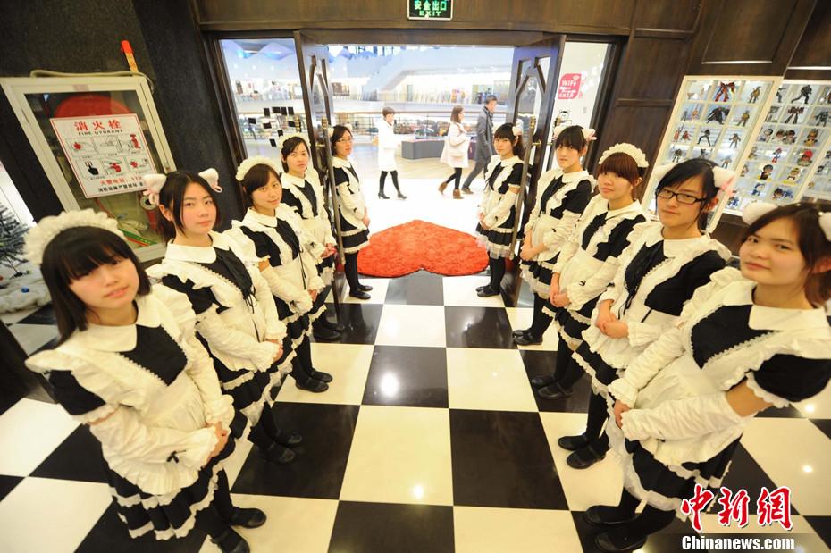江苏扬州女仆餐厅服务员全部穿上女仆装招待顾