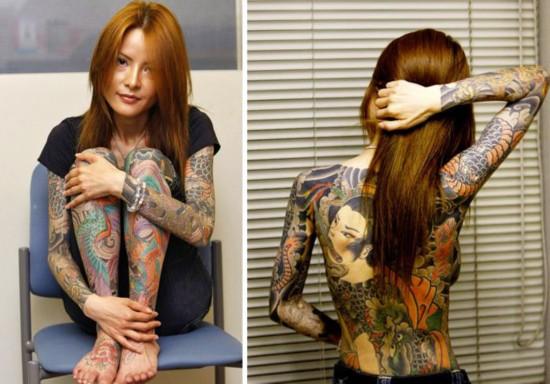 纹身/日本黑帮女通体纹身撰写自传畅销欧美