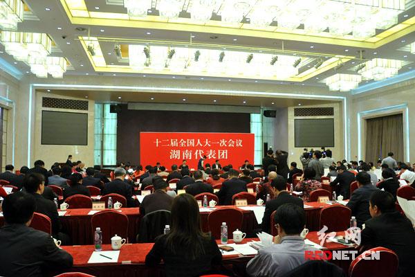湖南代表团举行第二次全体会议。
