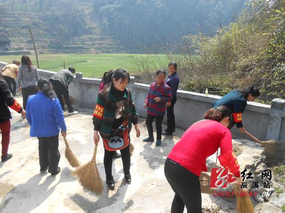 伍家湾乡/当天,伍家湾乡50多名妇女代表佩戴红色袖章,拿着扫把等工具,...