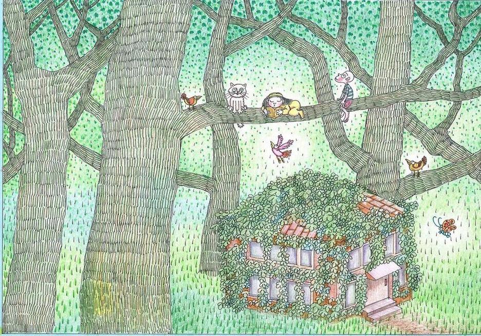 儿童画画呼吁植树 赶走雾霾天(图)