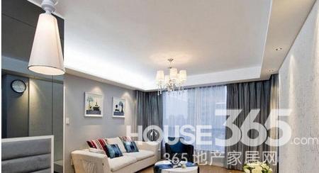 90平米房屋装修效果图 淡蓝色的格调婚房高清图片