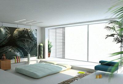 臥室裝修效果圖:臥室有大大的落地窗