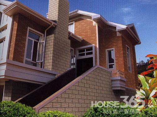 效果图 别墅 外墙砖/外墙瓷砖图片:橙色的外墙砖与白色的外墙瓷砖混合铺贴,使整栋...