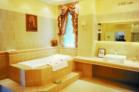 欧式洗手间效果图:瓷砖讲究在不变的重复中点缀几块花式图高清图片