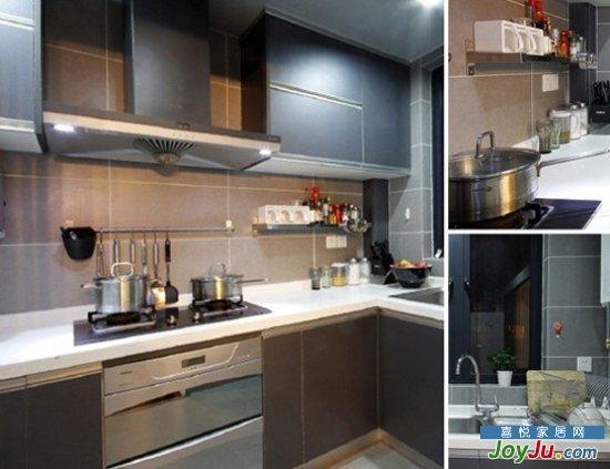 现代风格装修效果图:银色一体式橱柜,老式抽油烟机,现代与传统高清图片