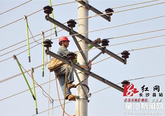 昨日,电力工人在对线路进行检修.邓倩 摄