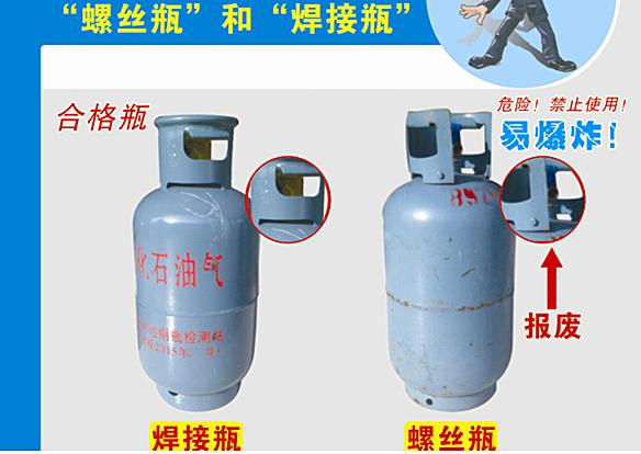 为了自己和他人的安全,购买液化石油气一定要仔细查看液化石油气钢瓶图片