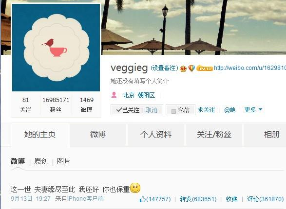 王菲微博公布离婚消息