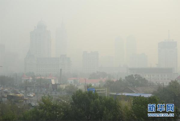 哈尔滨市区发生重度雾霾 部分高速路封闭