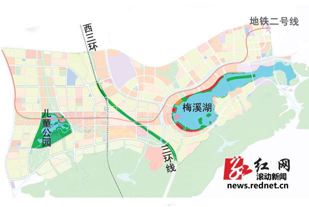 规划的梅溪湖新城将连成一片,8条主次干道跨过绕城线形成稠密高清图片