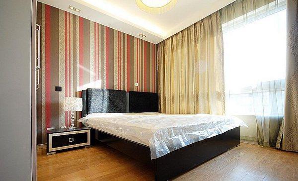 卧室墙面欧式贴墙布效果图