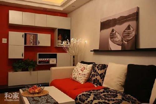 50平方装修效果图:客厅的沙发,选配的茶几和灯,全部不是在网高清图片